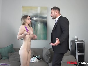 Teen blonde Hanna Paige masturbates until a cock comes along approximately fuck