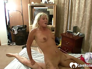 Blonde wife loves his big lasting cock