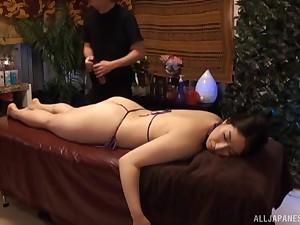 Oiled and simmering girl is ready for massage and hard sex after that