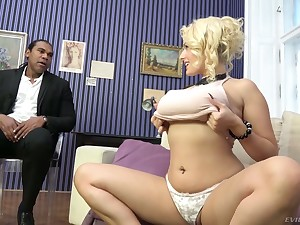 Wow flaxen milf Angel Wicky gives a boobjob and gets say no to pussy blacked