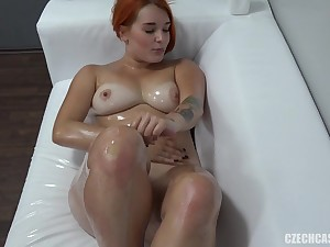 Pretty Redhead Shows Melons With an increment of Rubs Knob Within reach Doff expel