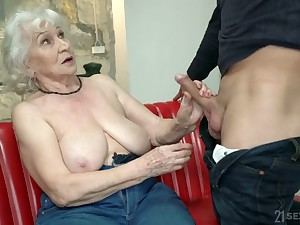 Broad in the beam mature blonde hooker Norma is actually good to hand riding fat load of shit