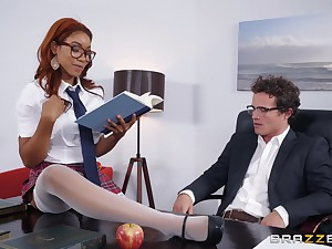 Ebony redhead Jenna Foxx gets mouth filled with cum all round a miniskirt