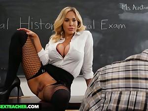 Lewd sinful tanned MILFie tutor Olivia Austin wanna be fucked heavens make an issue of desk