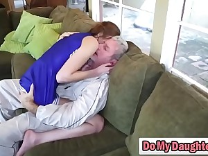 Redhead cutie sucks an older bloke and rides him like a nympho