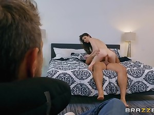 Cuck husband watches his wife enjoys a big cock