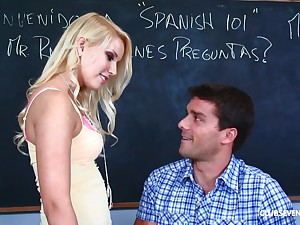 Slutty blonde teen Vanessa Cage missionary fucked on the table