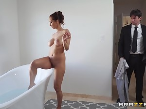Cury Latina MILF Isis Love gets cum on face token riding cock wildly