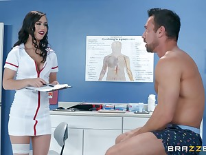 Latina bombshell nurse Alina Lopez rides her patient on a catch table
