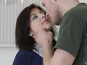 Rebecca Rainbow likes tit job and a blowjob before rough sex with the brush lover