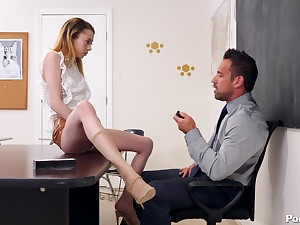 Allie Addison gets her pussy filled with a professor's boner on the table