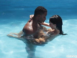 Horny MILF Gina Ferocious pounded by a big black dick by the pool