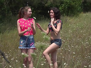 walk-over in the wild nature is lesbian sex adventure for horny Vika Lita
