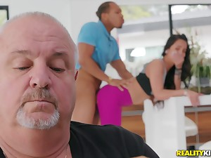 Teen gets fucked by a black dude with her daddy around