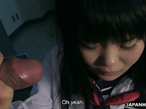 Bald pussy of kawaii Japanese gal Sayaka Aishiro is stretched both doggy and mish