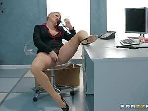 After she masturbates with a dildo Ryan Keely is ready for boss's penis