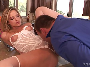 Kitchen pleasures with a blonde babe dressed in white lingerie
