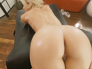 Starved fair-haired with small Bristols Khloe Kapri gets their way pussy fucked on the rub down table