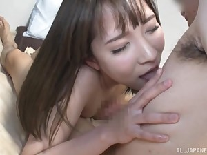 Horny Japanese brunette eats friend's bushwa like vanilla ice creme de la creme