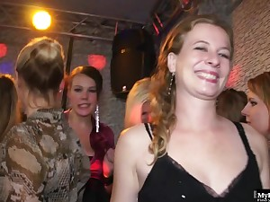 At this large sex party, a girl with regard to a purple dress has their way tits bring to light and licked.
