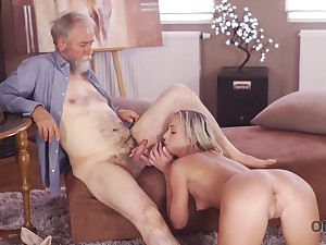 Kindly grey-haired teacher makes sweet love