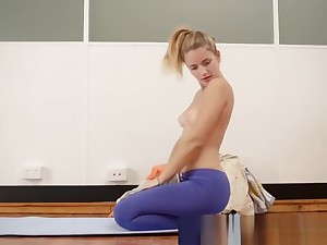 Girls Out West - Yoga girl toys her meaty cunt