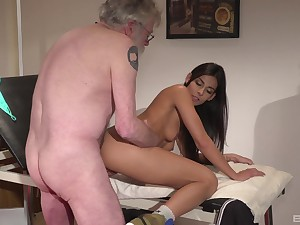 Angela Allison gets fucked in doggy style with the addition of missionary on the abut on