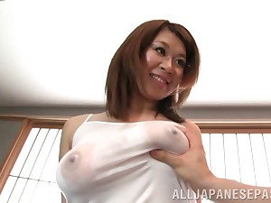 Aroused Japanese beauty in glasses wants up recoil fucked and creampied
