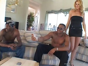 Hypnotic tow-headed with a shaved pussy object gangbanged in a steamy interracial sex