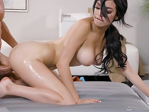 Savannah Sixx uses her sexy body there almost a nuru massage and gets creamed