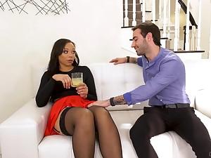 Slutty nextdoor ebony chick Adriana Maya seduces white married man