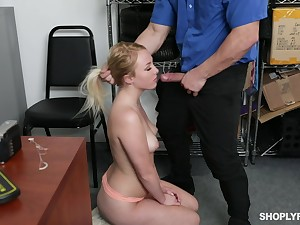 Security guy punishes sexy blond chick Dixie Lynn for shoplifting