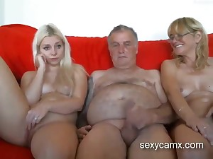 Grandpa and grandma seduce young scalding granddaughter live at sexycamx
