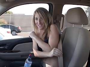 Shy blonde girl gets naked with an increment of teases with her ass while giving a BJ