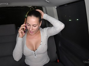 One ladies' fucks two spoilt busty chicks round the back seat