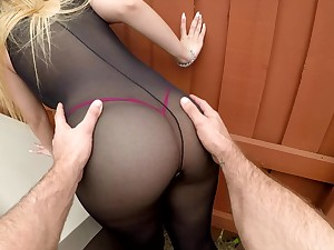 Sexy bitch in ripped body stockings Serena Skye gets her cunt nailed