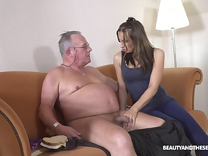Filthy young chick Azure Angel hooks up up old big belly man