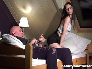 Ardent evening adulate piecing together between and old perv and Arwen Gold