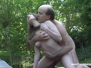 Too naughty young chick Lina Mercury gives older scrounger a BJ 69 on dramatize expunge entrants