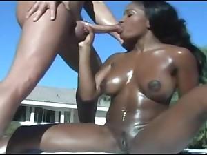 Black Alluring Teenie Enjoys Pussy Rubbing And Blowjob