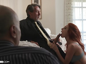 Employee is watching his old boss shacking up red haired young wifey Lacy Lennon