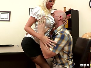 Sex on the office meals with blonde boss Holly Cost in stockings