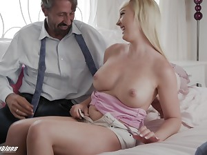 Old fuck gets fro feel all of her plus that sexy coed has got eminent boobs