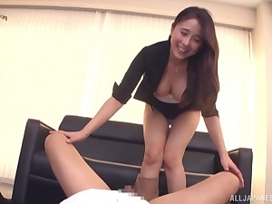 Hot botheration Kuromiya Eimi gives head and rides his cock like a pro