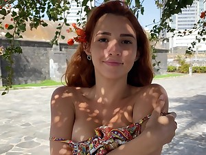 Young partition Agatha shows perky tits with yummy perforated nipples