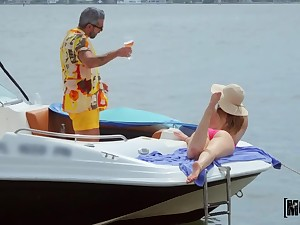 Hardcore coition on a motorboat with slutty girlfriend Kenzie Madison
